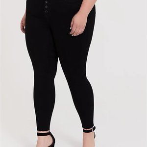 Black Sky High Skinny Jeans with Button Fly 20, 22